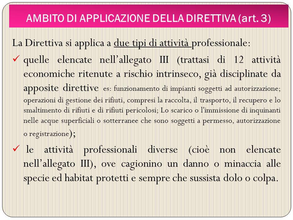 AMBITO DI APPLICAZIONE DELLA DIRETTIVA (art. 3) La Direttiva si applica a due tipi di attività professionale: quelle elencate nellallegato III (tratta