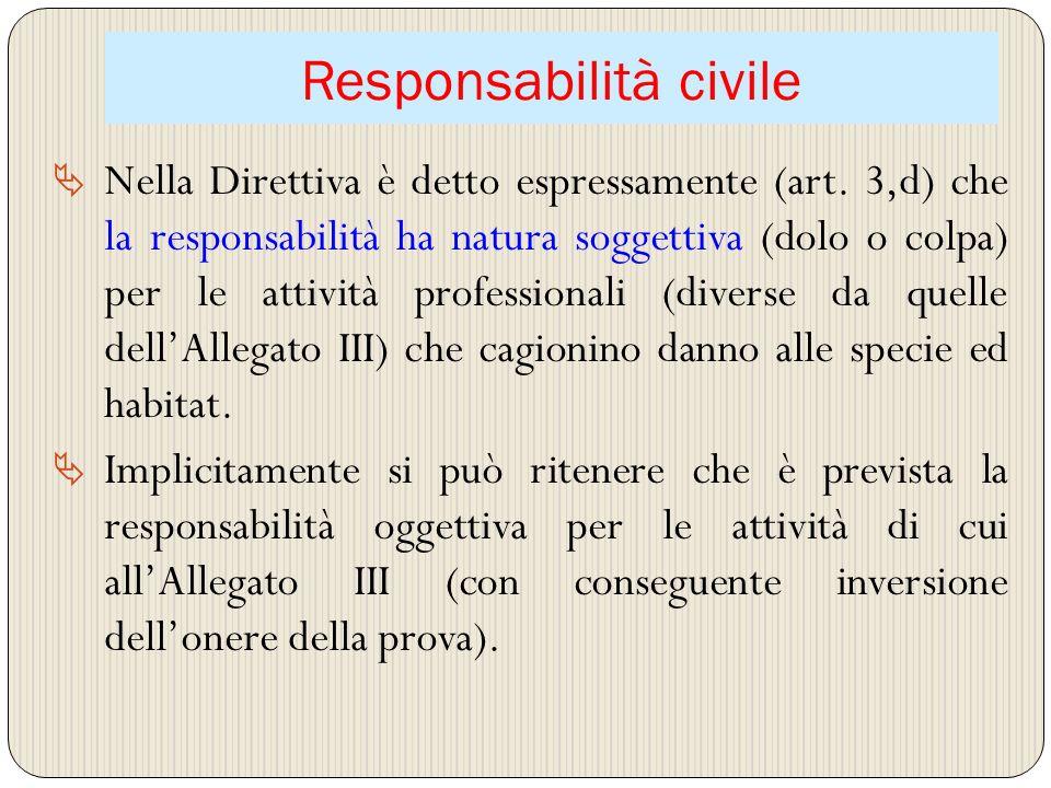Responsabilità civile Nella Direttiva è detto espressamente (art. 3,d) che la responsabilità ha natura soggettiva (dolo o colpa) per le attività profe