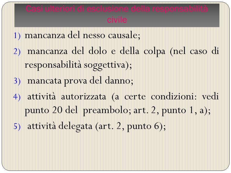 1) mancanza del nesso causale; 2) mancanza del dolo e della colpa (nel caso di responsabilità soggettiva); 3) mancata prova del danno; 4) attività aut