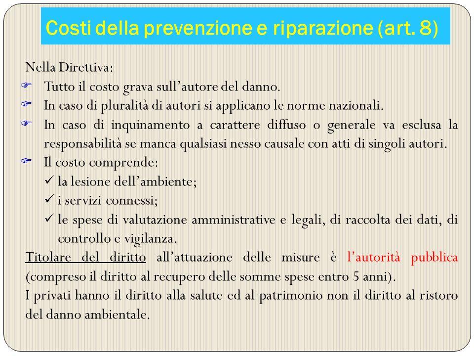 Costi della prevenzione e riparazione (art. 8) Nella Direttiva: Tutto il costo grava sullautore del danno. In caso di pluralità di autori si applicano