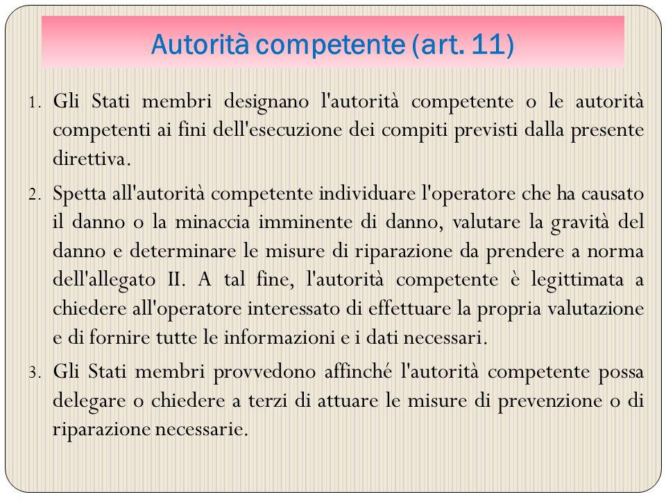 Autorità competente (art. 11) 1. Gli Stati membri designano l'autorità competente o le autorità competenti ai fini dell'esecuzione dei compiti previst