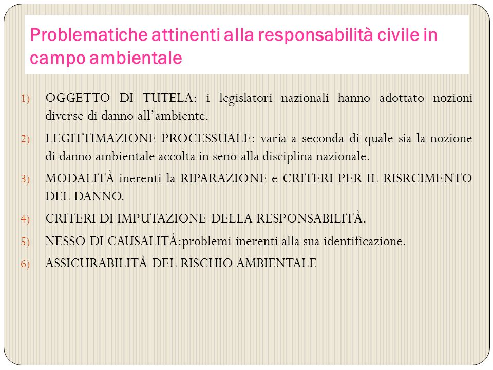 Problematiche attinenti alla responsabilità civile in campo ambientale 1) OGGETTO DI TUTELA: i legislatori nazionali hanno adottato nozioni diverse di