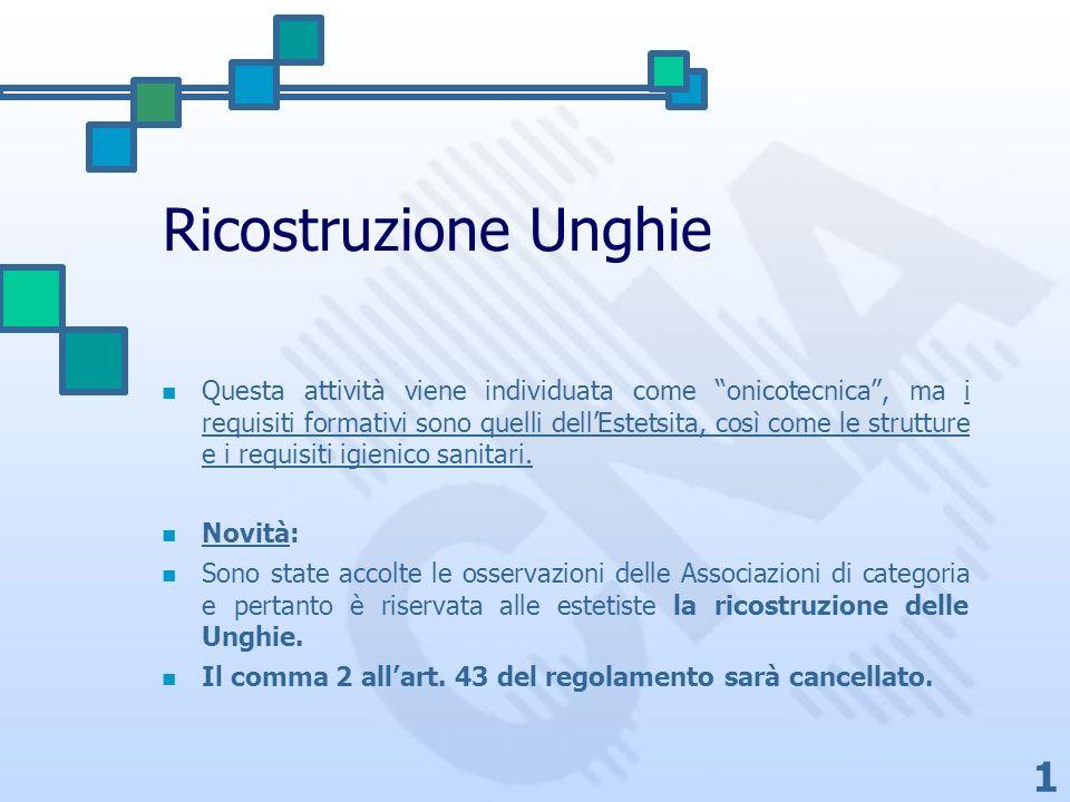 1 Ricostruzione Unghie Questa attività viene individuata come onicotecnica, ma i requisiti formativi sono quelli dellEstetsita, così come le strutture