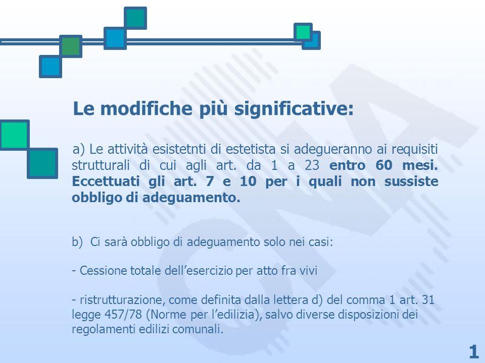 1 b) Ci sarà obbligo di adeguamento solo nei casi: - Cessione totale dellesercizio per atto fra vivi - ristrutturazione, come definita dalla lettera d