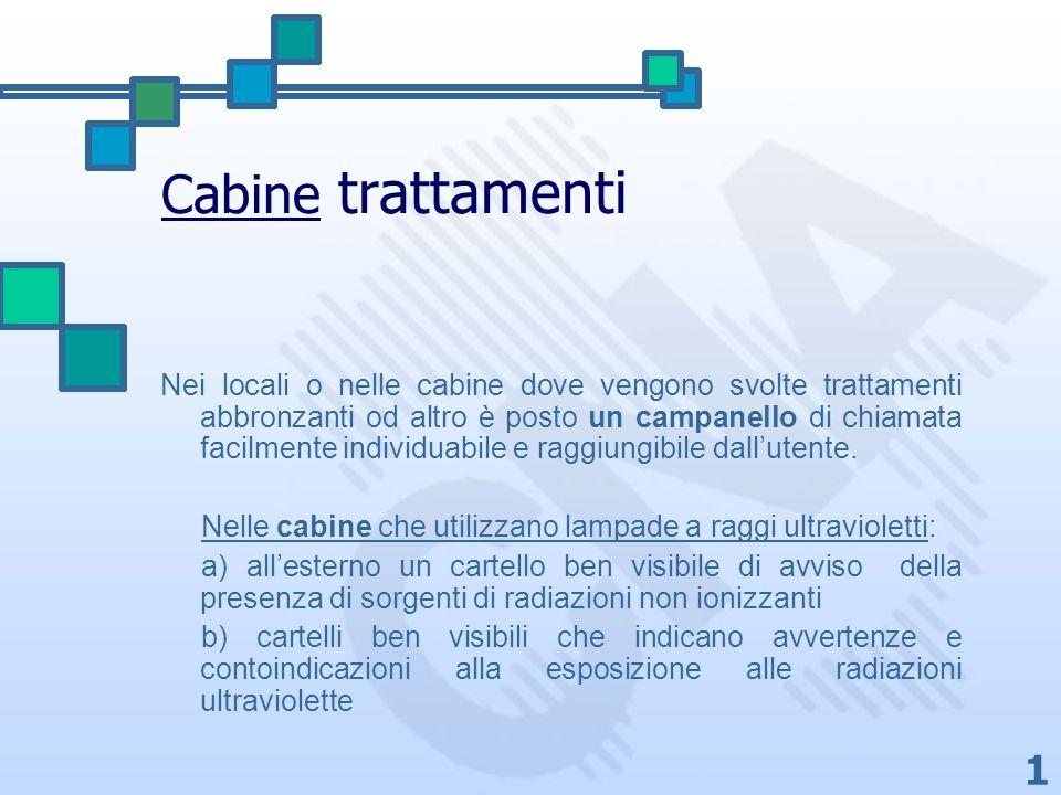 1 Cabine trattamenti Nei locali o nelle cabine dove vengono svolte trattamenti abbronzanti od altro è posto un campanello di chiamata facilmente indiv
