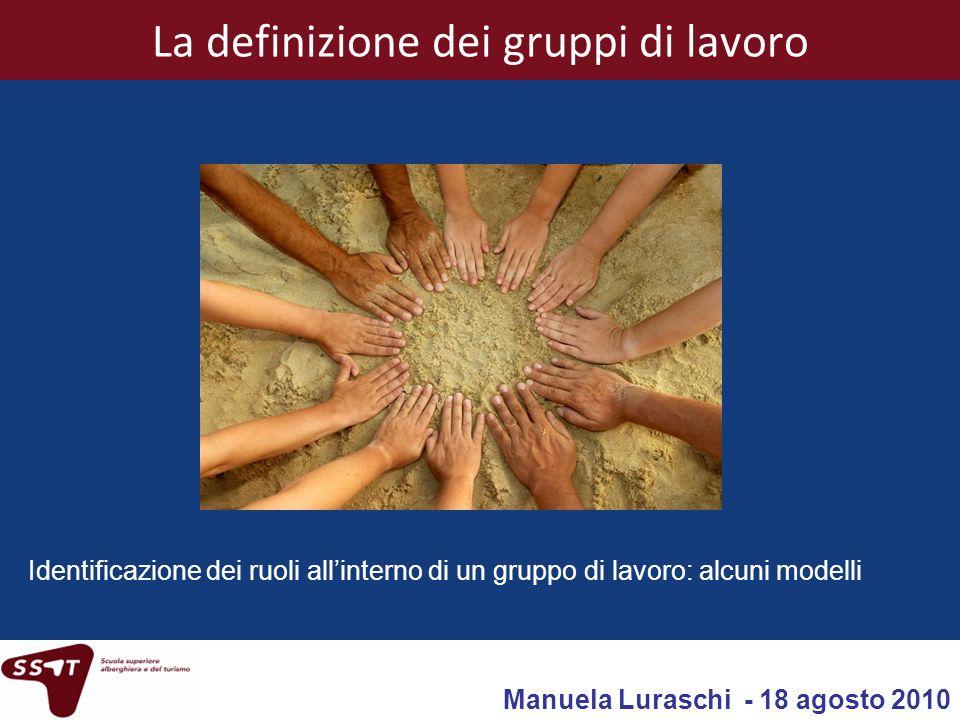 Manuela Luraschi - SSAT Bellinzona - 18 agosto 20101 La definizione dei gruppi di lavoro Identificazione dei ruoli allinterno di un gruppo di lavoro: alcuni modelli Manuela Luraschi - 18 agosto 2010