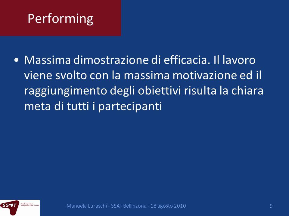 Manuela Luraschi - SSAT Bellinzona - 18 agosto 201010 Come creare un gruppo di lavoro Alcuni modelli di riferimento: -Estrazione a sorte -Per interesse / tema -A rotazione/a caso -Gruppi predefiniti -Secondo lindividuazione dei ruoli: -Esercizi di team building -Tramite la teoria dei colori