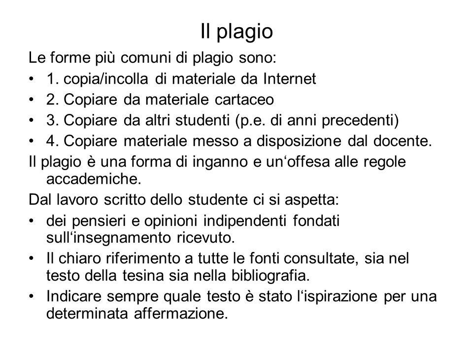 Il plagio Le forme più comuni di plagio sono: 1. copia/incolla di materiale da Internet 2.