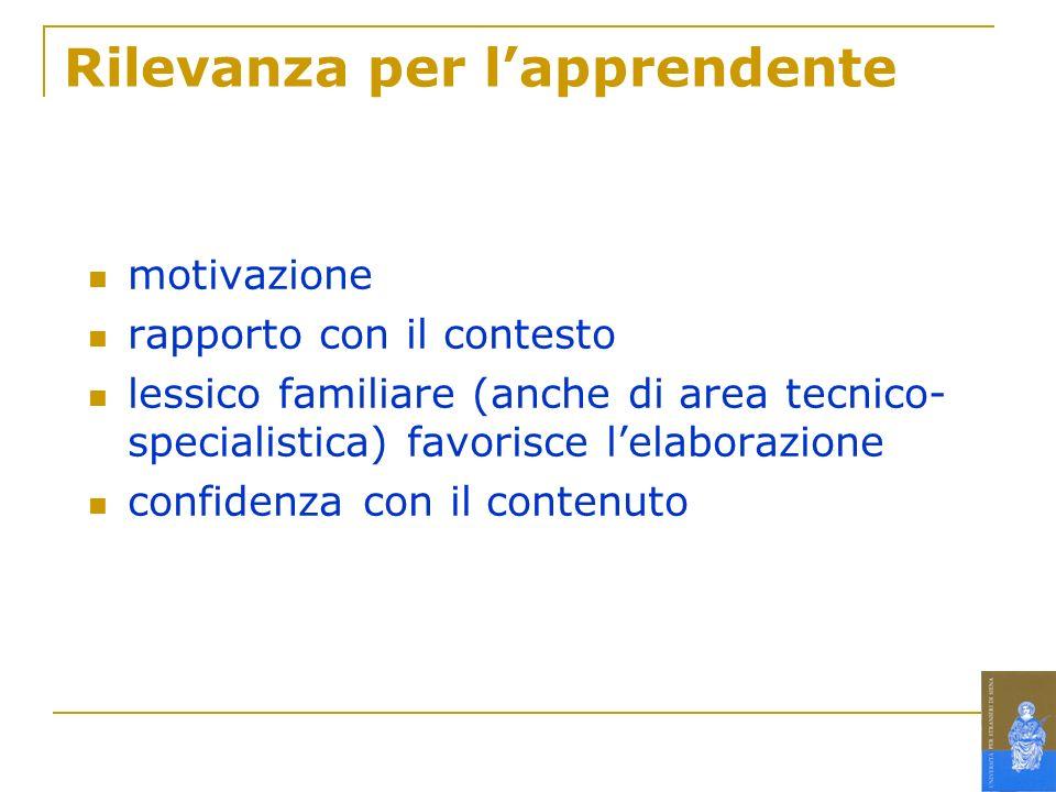 Rilevanza per lapprendente motivazione rapporto con il contesto lessico familiare (anche di area tecnico- specialistica) favorisce lelaborazione confi