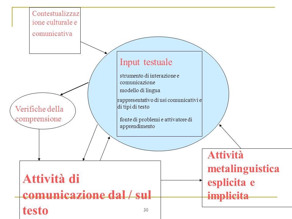 30 strumento di interazione e comunicazione Input testuale modello di lingua rappresentativo di usi comunicativi e di tipi di testo fonte di problemi