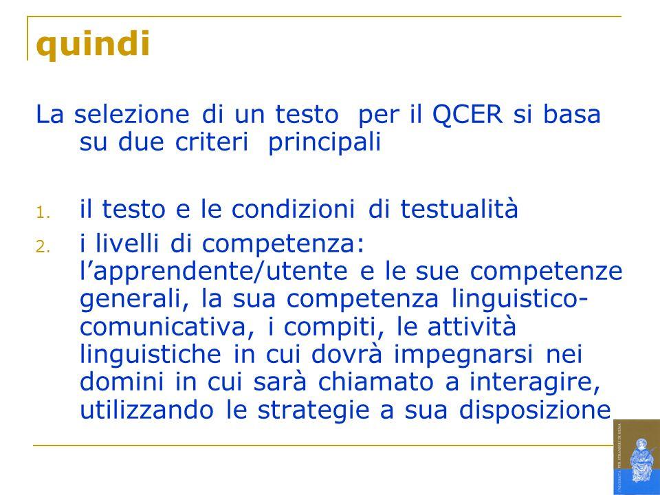 Criteri per la selezione di un testo proposti dal QCER Complessità linguistica Tipo di testo Strutture del discorso Aspetti fisici Lunghezza del testo Rilevanza per gli apprendenti