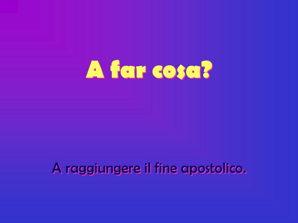 A far cosa A raggiungere il fine apostolico. A far cosa A raggiungere il fine apostolico.