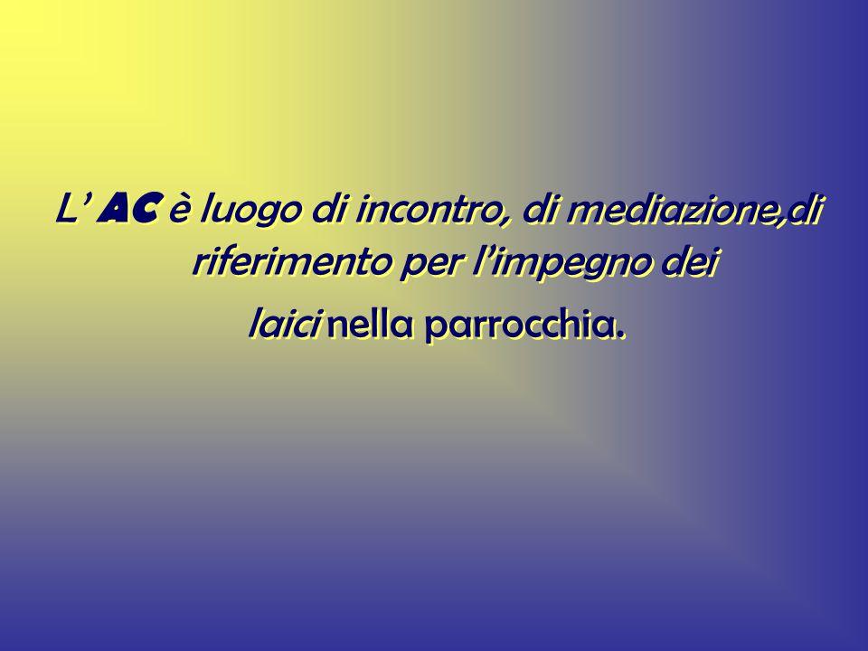 L AC è luogo di incontro, di mediazione,di riferimento per limpegno dei laici nella parrocchia.