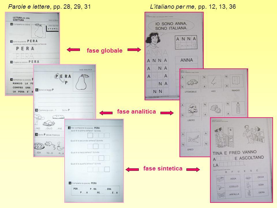 Parole e lettere, pp. 28, 29, 31Litaliano per me, pp. 12, 13, 36 fase globale fase analitica fase sintetica