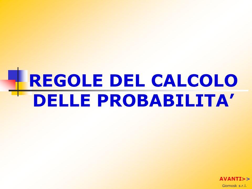 REGOLE DEL CALCOLO DELLE PROBABILITA Giomosk s.r.l. AVANTI>>