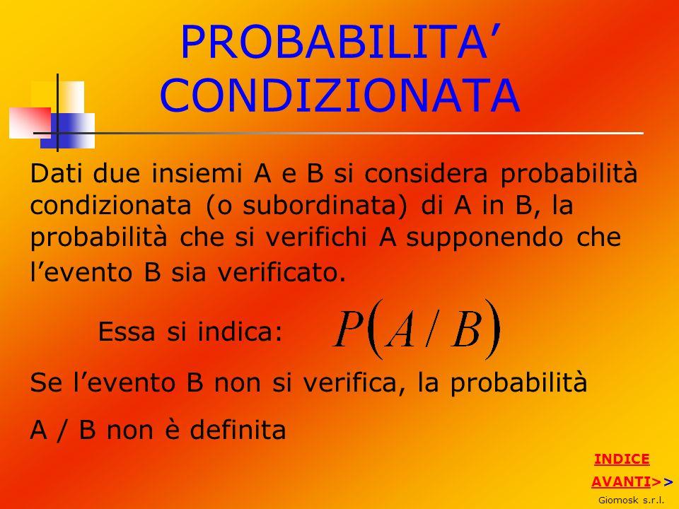 PROBABILITA CONDIZIONATA Dati due insiemi A e B si considera probabilità condizionata (o subordinata) di A in B, la probabilità che si verifichi A sup