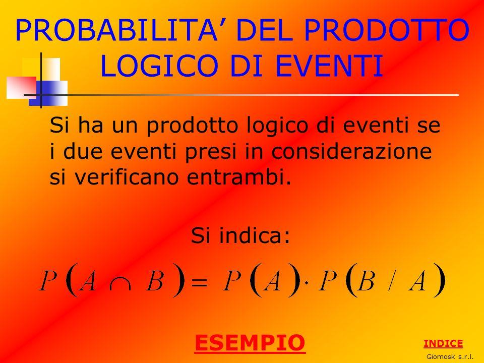 PROBABILITA DEL PRODOTTO LOGICO DI EVENTI Si ha un prodotto logico di eventi se i due eventi presi in considerazione si verificano entrambi. Giomosk s
