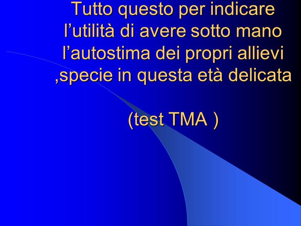 Tutto questo per indicare lutilità di avere sotto mano lautostima dei propri allievi,specie in questa età delicata (test TMA )