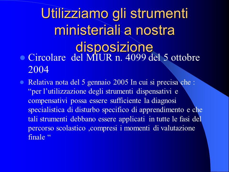 Utilizziamo gli strumenti ministeriali a nostra disposizione Circolare del MIUR n. 4099 del 5 ottobre 2004 Relativa nota del 5 gennaio 2005 In cui si