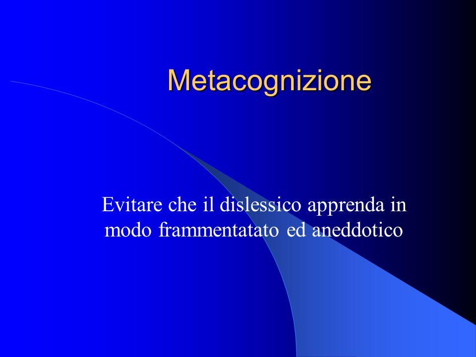 Metacognizione Evitare che il dislessico apprenda in modo frammentatato ed aneddotico
