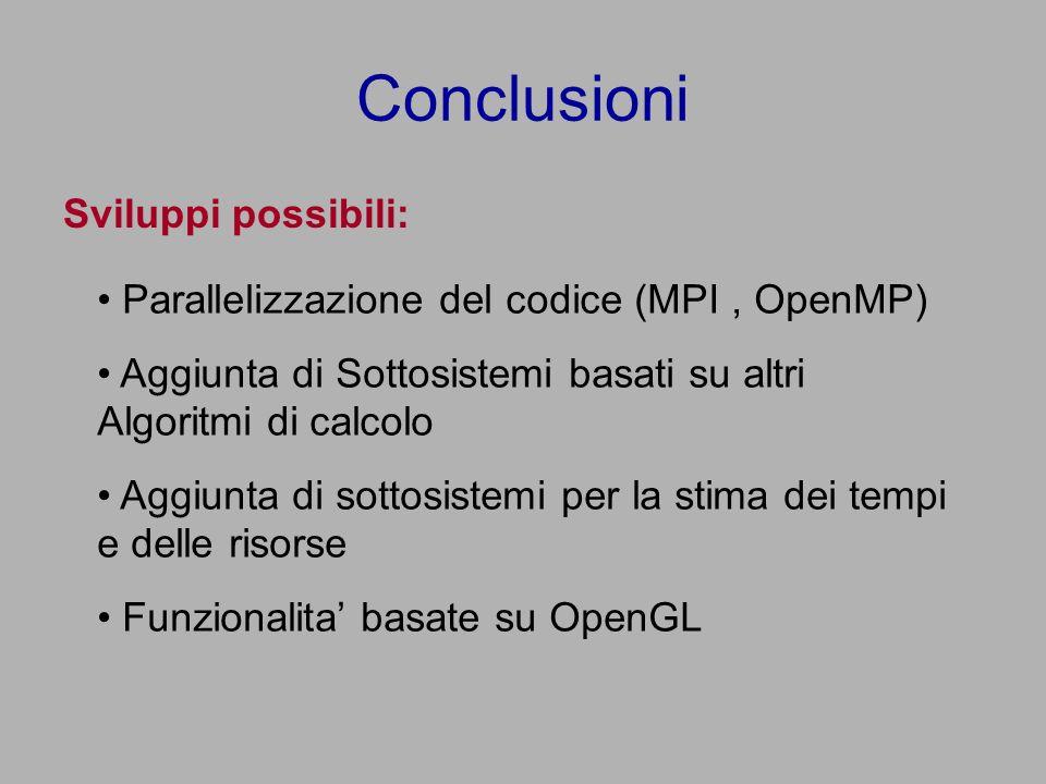 Conclusioni Sviluppi possibili: Parallelizzazione del codice (MPI, OpenMP) Aggiunta di Sottosistemi basati su altri Algoritmi di calcolo Aggiunta di sottosistemi per la stima dei tempi e delle risorse Funzionalita basate su OpenGL