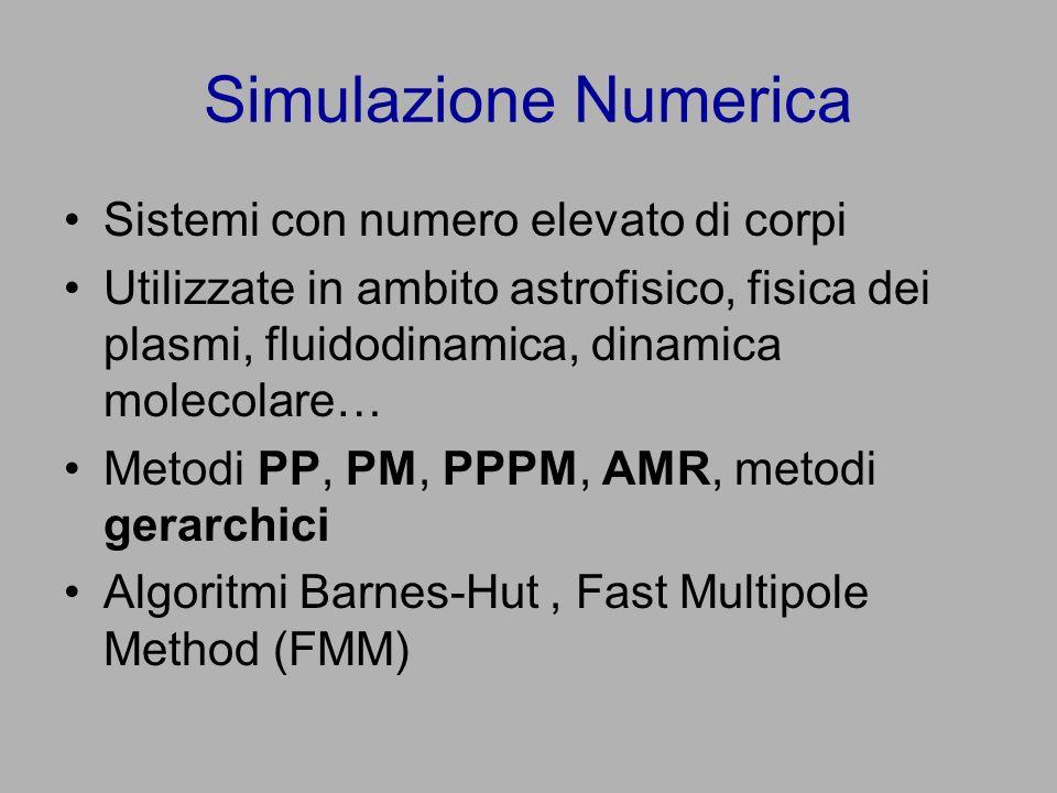Simulazione Numerica Sistemi con numero elevato di corpi Utilizzate in ambito astrofisico, fisica dei plasmi, fluidodinamica, dinamica molecolare… Metodi PP, PM, PPPM, AMR, metodi gerarchici Algoritmi Barnes-Hut, Fast Multipole Method (FMM)