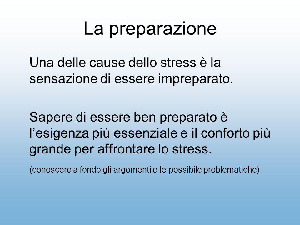 La preparazione Una delle cause dello stress è la sensazione di essere impreparato.