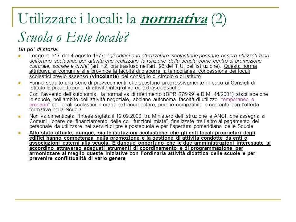 Utilizzare i locali: il bando A chi deve essere indirizzato.