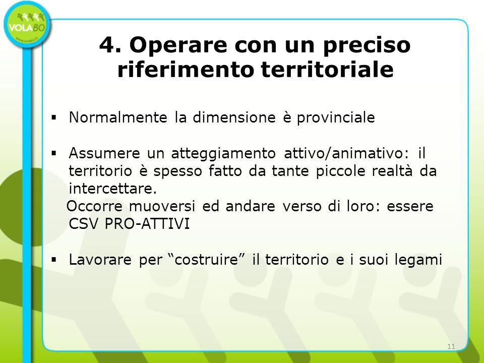 4. Operare con un preciso riferimento territoriale Normalmente la dimensione è provinciale Assumere un atteggiamento attivo/animativo: il territorio è