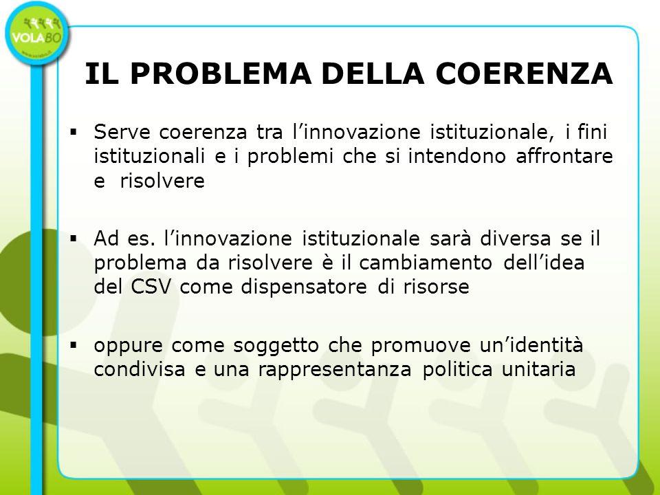 IL PROBLEMA DELLA COERENZA Serve coerenza tra linnovazione istituzionale, i fini istituzionali e i problemi che si intendono affrontare e risolvere Ad es.