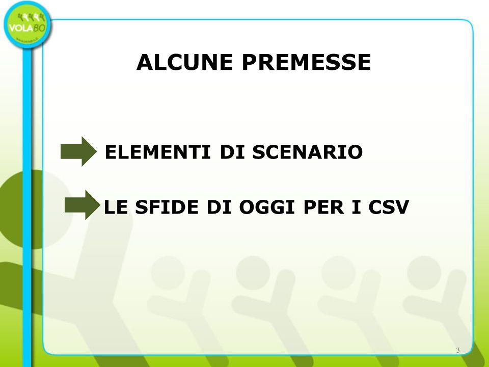ALCUNE PREMESSE ELEMENTI DI SCENARIO LE SFIDE DI OGGI PER I CSV 3