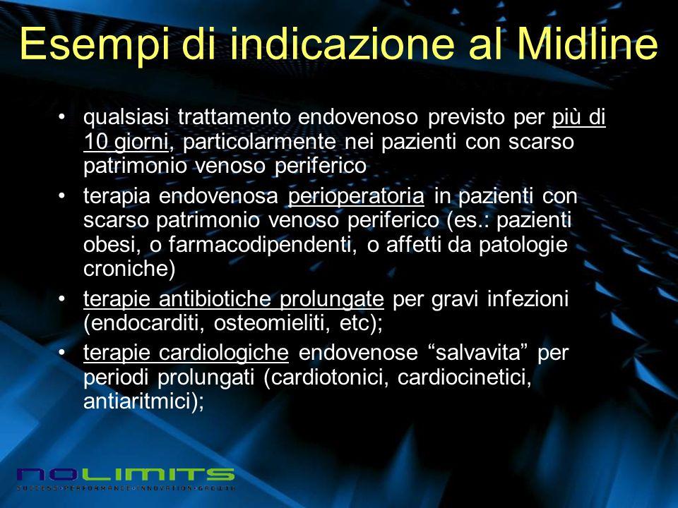 Esempi di indicazione al Midline qualsiasi trattamento endovenoso previsto per più di 10 giorni, particolarmente nei pazienti con scarso patrimonio ve