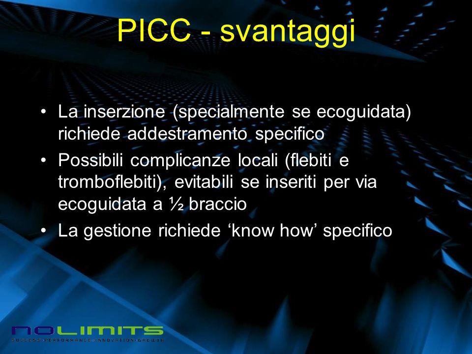 PICC - svantaggi La inserzione (specialmente se ecoguidata) richiede addestramento specifico Possibili complicanze locali (flebiti e tromboflebiti), e