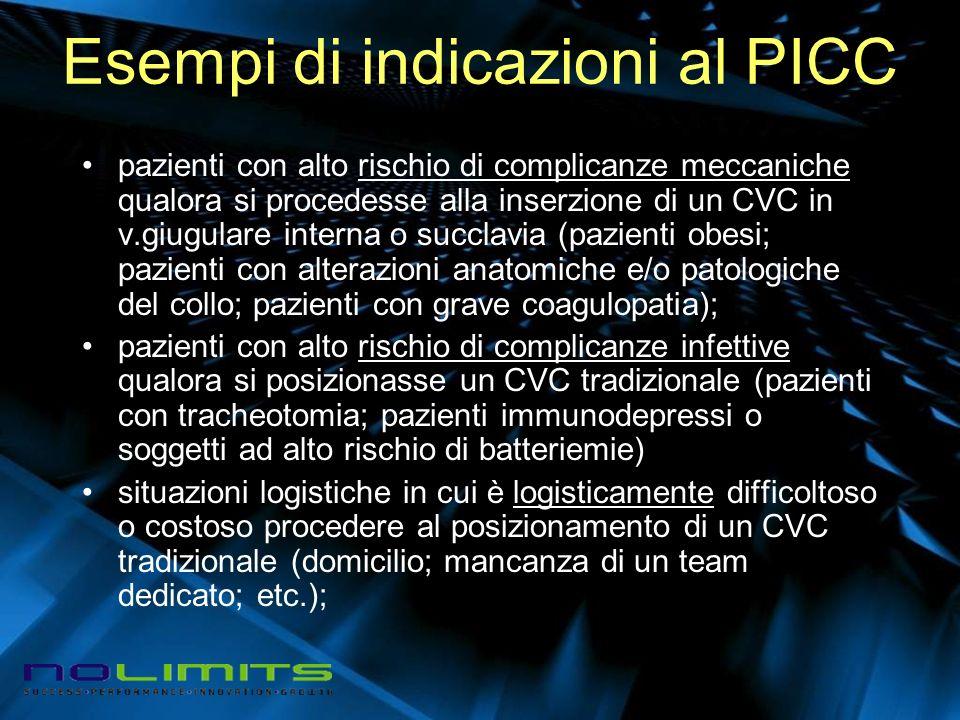 Esempi di indicazioni al PICC pazienti con alto rischio di complicanze meccaniche qualora si procedesse alla inserzione di un CVC in v.giugulare inter
