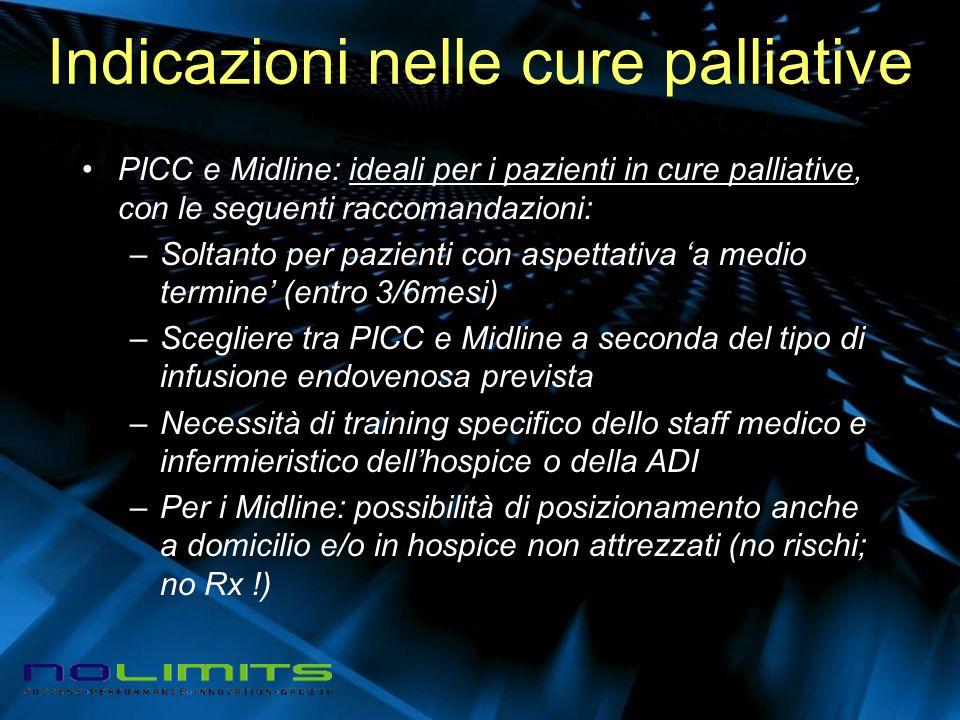 Indicazioni nelle cure palliative PICC e Midline: ideali per i pazienti in cure palliative, con le seguenti raccomandazioni: –Soltanto per pazienti co