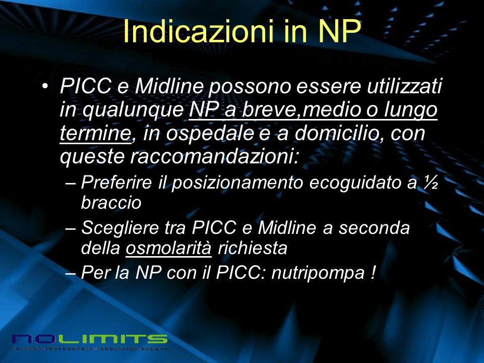 Indicazioni in NP PICC e Midline possono essere utilizzati in qualunque NP a breve,medio o lungo termine, in ospedale e a domicilio, con queste raccom