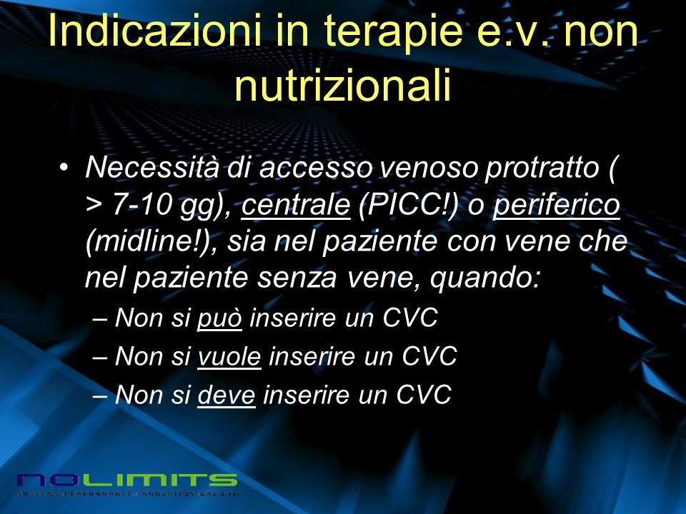 Indicazioni in terapie e.v. non nutrizionali Necessità di accesso venoso protratto ( > 7-10 gg), centrale (PICC!) o periferico (midline!), sia nel paz