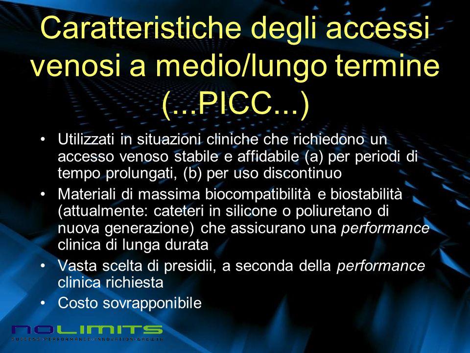 Caratteristiche degli accessi venosi a medio/lungo termine (...PICC...) Utilizzati in situazioni cliniche che richiedono un accesso venoso stabile e a