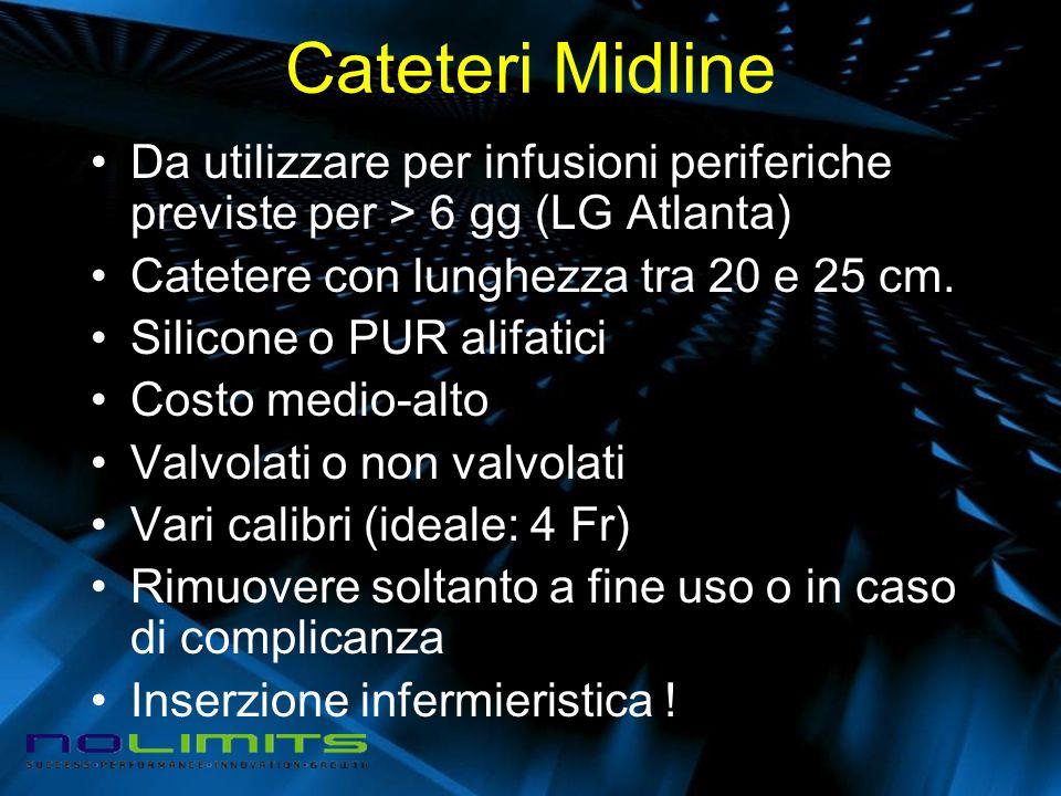 Cateteri Midline Da utilizzare per infusioni periferiche previste per > 6 gg (LG Atlanta) Catetere con lunghezza tra 20 e 25 cm. Silicone o PUR alifat