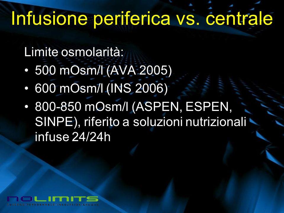 Infusione periferica vs. centrale Limite osmolarità: 500 mOsm/l (AVA 2005) 600 mOsm/l (INS 2006) 800-850 mOsm/l (ASPEN, ESPEN, SINPE), riferito a solu