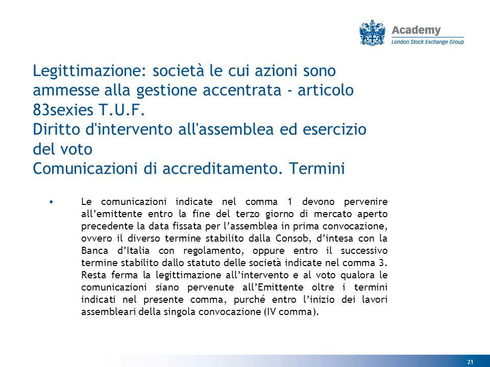 21 Legittimazione: società le cui azioni sono ammesse alla gestione accentrata - articolo 83sexies T.U.F.