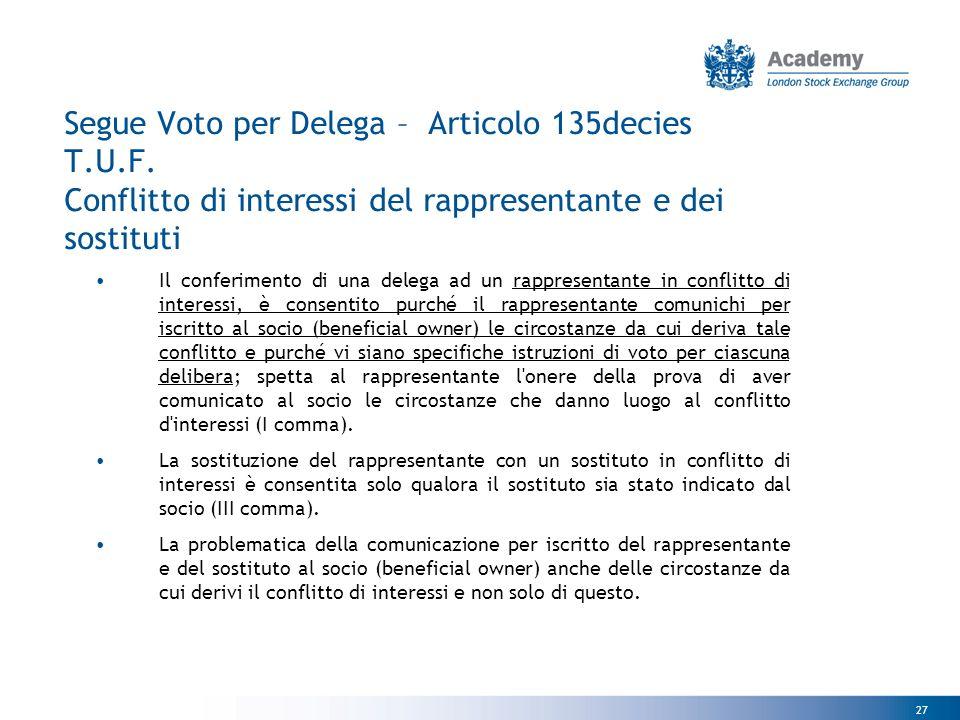 27 Segue Voto per Delega – Articolo 135decies T.U.F.