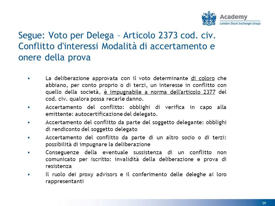 29 Segue: Voto per Delega – Articolo 2373 cod. civ.