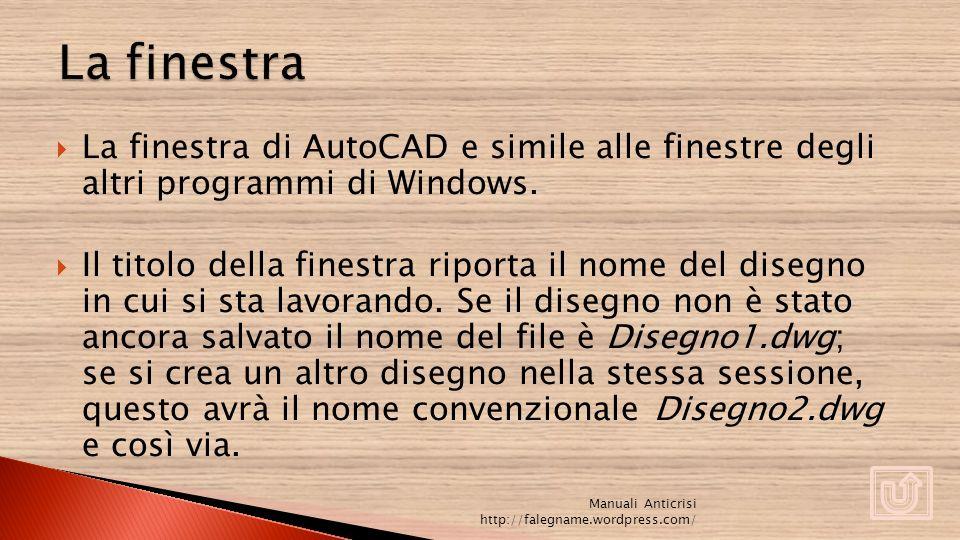 La finestra di AutoCAD e simile alle finestre degli altri programmi di Windows. Il titolo della finestra riporta il nome del disegno in cui si sta lav