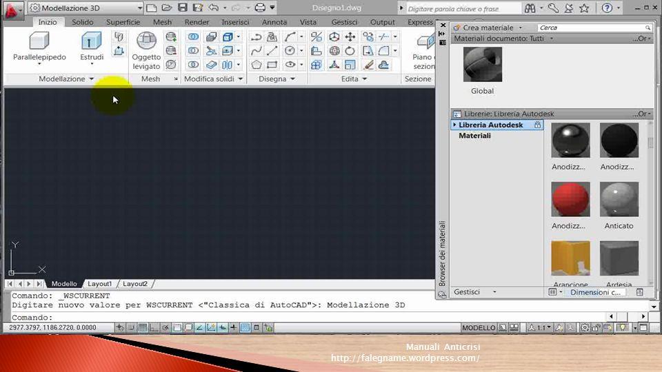 I menu sono suddivisi per categorie di funzione: per esempio nel menu Disegna si trovano i comandi per la creazione degli oggetti, nel menu Visualizza quelli per il controllo della visualizzazione, il menu Edita contiene le funzioni per la modifica degli oggetti, mentre il menu Modifica mette a disposizione i classici comandi per tagliare, copiare, annullare e così via.