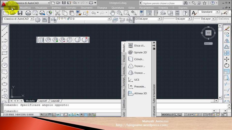 In AutoCAD vengono attivate solo alcune delle barre degli strumenti in base allarea di lavoro corrente.