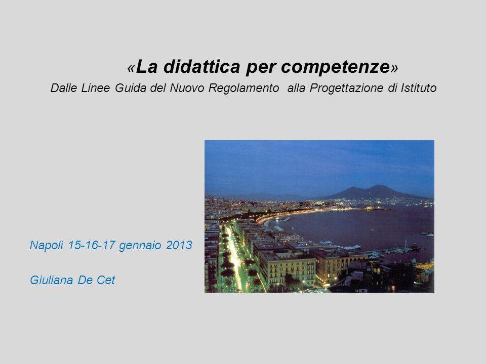« La didattica per competenze » Dalle Linee Guida del Nuovo Regolamento alla Progettazione di Istituto Napoli 15-16-17 gennaio 2013 Giuliana De Cet