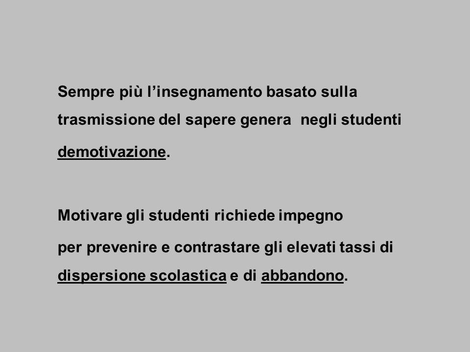 Sempre più linsegnamento basato sulla trasmissione del sapere genera negli studenti demotivazione.