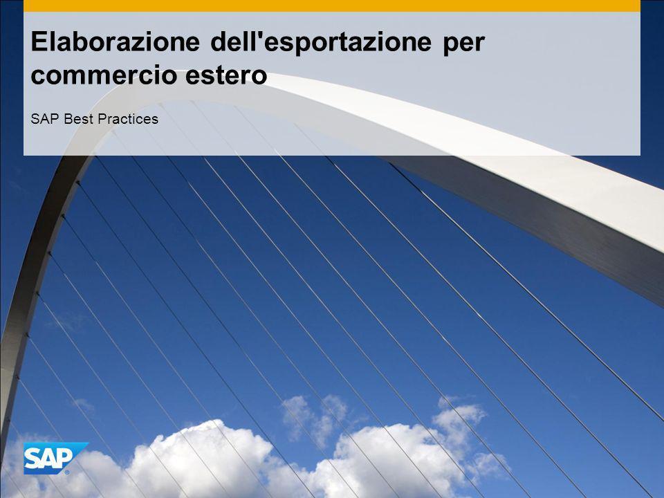 Elaborazione dell'esportazione per commercio estero SAP Best Practices