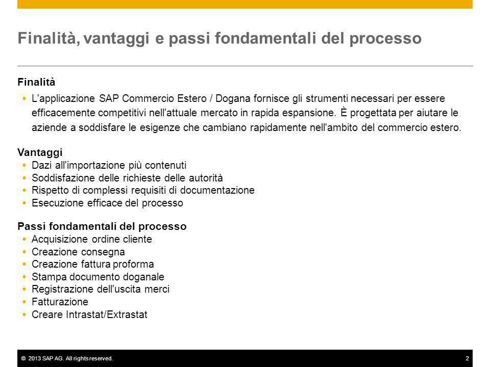 ©2013 SAP AG. All rights reserved.2 Finalità, vantaggi e passi fondamentali del processo Finalità L'applicazione SAP Commercio Estero / Dogana fornisc